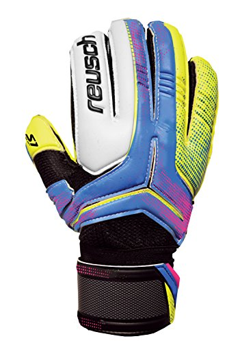 Reusch Soccer Receptor Prime S1 Finger Support Goalkeeper Glove, Size 11, Lime Green palm