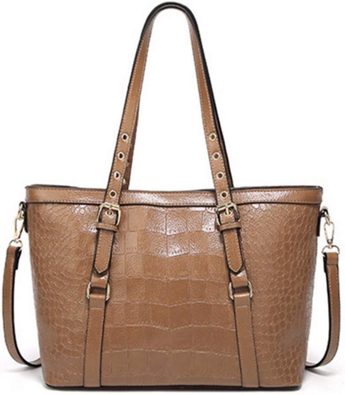 JQSM Soft Retro Women Shoulder Bag Large-Capacity Crocodile Handbag Female Daily Totes