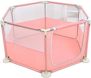 幼児の遊び場、ベビープレイグラウンドの遊び場、折りたたみ式の軽量子供用プレイフェンス、高さ73 cm (色 : Pink)
