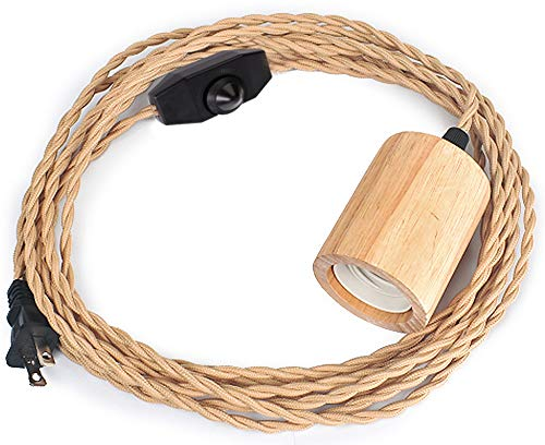Wood Pendant Light Cord Kit with Dimmable Switch,16.4FT Vintage Industrial Hanging Light Plug in Lamp Cord with Twisted Nylon Rope Pendant Lights Socket E26 E27 for Farmhouse Lamp Cable Retro DIY