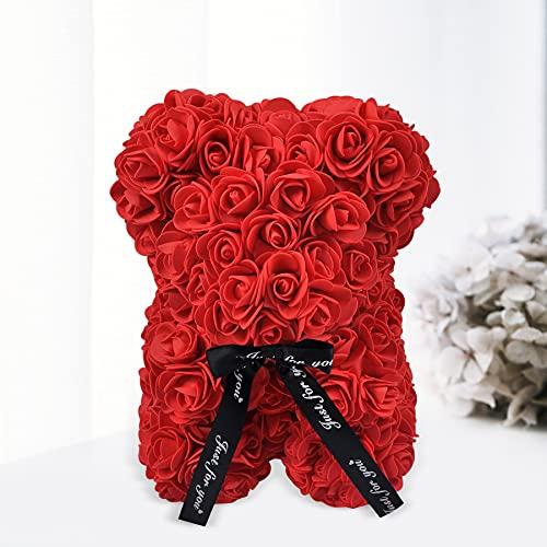 Blanc Valentine Creative Rose Ours Cadeau À La Main Mignon Savon Roses Ours Fleurs Artificielles Jouet Ours pour Cadeau d'anniversaire Cadeau De Jour Spécial (Red)