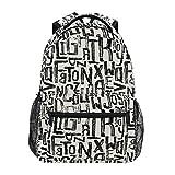 Arte del Alfabeto Inglés Negro Blanco Mochila Escolar Impermeable Mochilas Escolares para Estudiante Adolescentes Niñas Niños