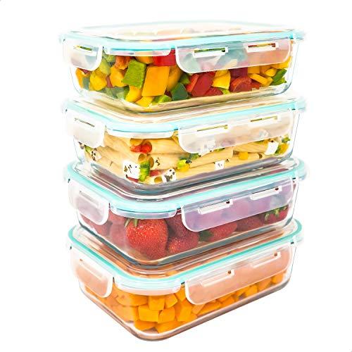 Luxury & Grace Pack 4 Recipientes de Cristal 1500 ml. Cierre Hermético. Envases Contenedores Aptos para Microondas, Horno, Lavavajillas y Congelador. Sin BPA.