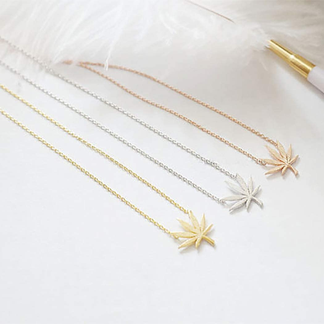 Fdesigner Maple Leaf Choker Necklace Simple Collar Necklaces Plant Pendant Chain Decorative Jewelry for Women and Girls (Rose Gold)