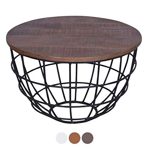 ANTARRIS Couchtisch mit Holz-Platte sägerau, stylisch Design Wohnzimmer-Tisch Lexington rund ø 60x60 cm Metall-Gestell Echtholz versch Farben (Dunkelbraun)