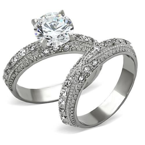 Doublebeez Jewelry Stainless Steel Ornate Design Cubic Zirconia Engagement...