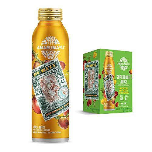 AMARUMAYU Buriti Superfruit Juice (6-Pack), Immune System Booster with Natural Antioxidants, 16 fl. oz. Aluminum Bottles
