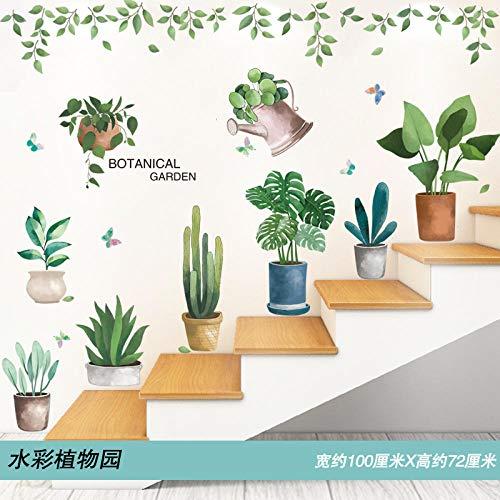 Diseño de decoración zócalo escalera decoración pegatinas de pared pegatinas de pared papel pintado autoadhesivo-Acuarela jardín botánico_Big