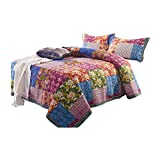 MLAH 3 Piece Cotton Patchwork Quilted Bedspread Set, Coverlets Bed Cover Blooming Prairie Pillowcase Bed Set, 240260CM