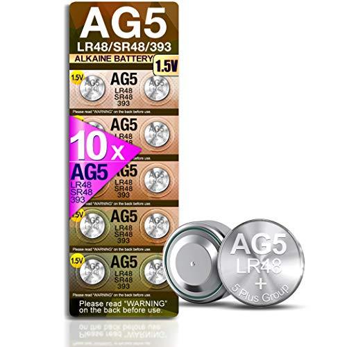 5Plus Group 10 x 1,55 V Knopfzelle Uhrenbatterie AG5 AG-5 LR750 LR754W