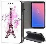 KUMO Handyhülle für Apple iPhone 6 / 6s Hülle Motiv 1078 Eifelturm Paris Frankreich Rosa Pink aus Kunstleder Schutzhülle Smart Flipcover HandyCase Handyhülle für Apple iPhone 6 / 6s