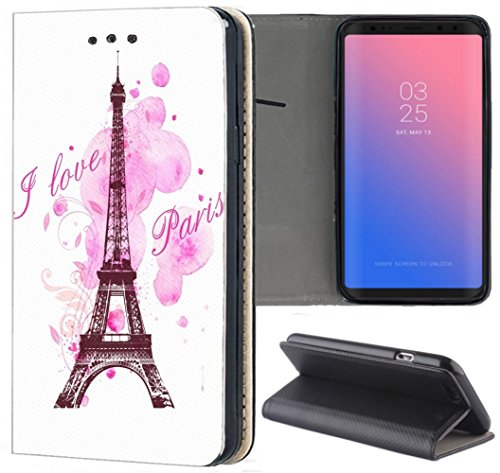 KUMO Handyhülle für Apple iPhone 5 / 5s / SE Hülle Motiv 1078 Eifelturm Paris Frankreich Rosa Pink aus Kunstleder Schutzhülle Smart Flipcover HandyHülle Handyhülle für Apple iPhone 5 / 5s / SE