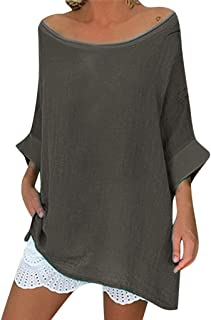Women Cotton Linen Plus Size Pullover Shirt Blouses Oversized Long Sleeve V-Neck Linen Tops Tunic Solid Casual T-Shirt