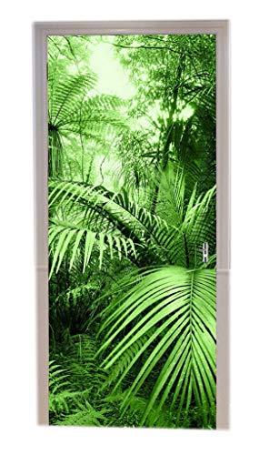 A.Monamour Stickers Muraux Palmier Tropical Feuille Vert Forêt Sauvage Jungle Nature Paysages Tirage Vinyle Salle Porte Stickers Papier Peint Peintures Murales De Porte Autocollants Affiches