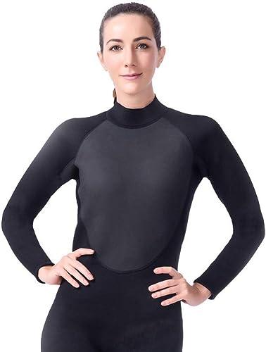 TSSM 3MM Combinaison Femme Surf Pure noir Slim Fit Force élastique Force Résistance au Froid Garder au Chaud Confortable écran Solaire Sports Nautiques,S