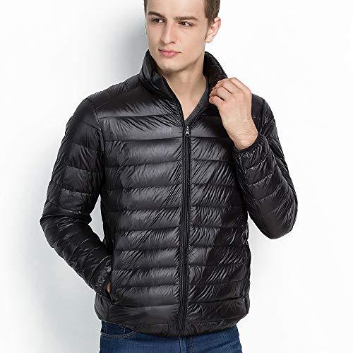 Vegena Herren Daunenjacken,Ultraleicht Sport Jacke,Stehkragen Jacke mit kleine Aufbewahrungstasche Schwarz XL
