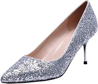 [uirendjsf] プロム ハイヒール - 婦人 先のとがった パンプス スティレット レディース キラキラ パーティー ドレス 結婚式 ダンスパーティー 靴