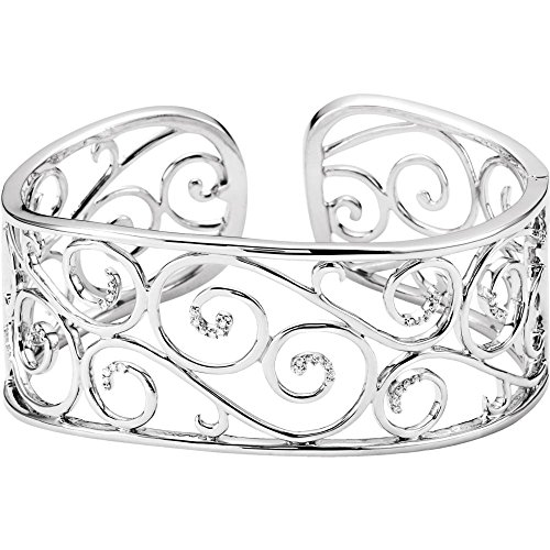 925 Sterling Silver Diamond Cuff Stackable Bangle Bracelet 1/4ct Jewelry Gifts for Women