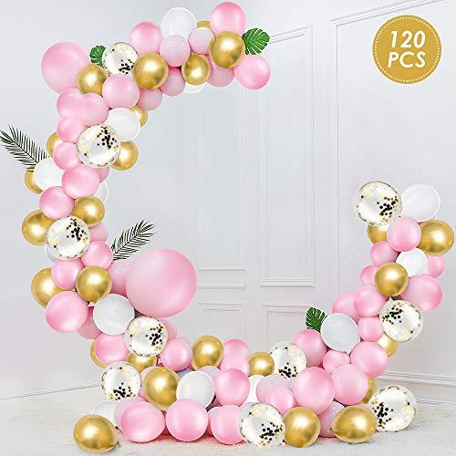 WD&CD 120 Stück Luftballons Latex Pink Gold Weiß mit Gold Konfetti Luftballons, Latex Luftballons mit 5M Ballonkette, Goldenes Band, Ballonband für Geburtstag, Hochzeit, Dekoration