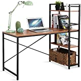 LEZIOA Computer Desk with Storage Shelves Home Office Desk Gaming Writing Study Table for Teenager PC Laptop Table Space-Saving Workstations (Rustic Brown, 47 Inch)