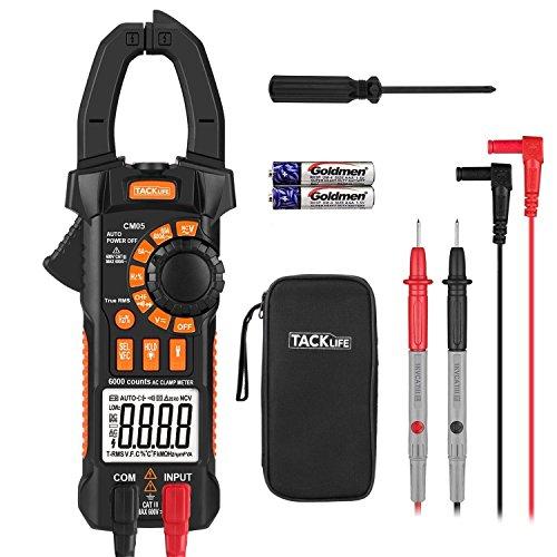 Multimetro Digital, TACKLIFE 6000 Counts/TRMS, VFC para medir Voltaje de Frecuencia Variable, Rango de CA 6A-600A, Voltaje de CAyCC 600V Resistencia/Capacitancia - CM05