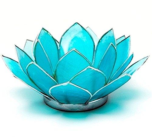 Find Something Different Etwas Finden Verschiedene Capiz Shell Blau Silber Trim Lotus Chakra Kerze Teelichthalter, Bambus, Mehrfarbig