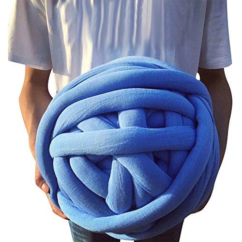 Super Chunky Vegan Yarn, Acrylic Bulky Thick Roving Washable Softee Chunky Jumbo Yarn for Arm Knitting DIY Kit Handmade Blankets Rugs Making (Blue, 20m)