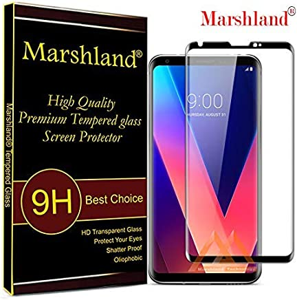 Marshland 3D Curved 9H Hardness 0.33mm Thickness Bubble-Free Tempered Glass Compatible with LG V30 (Black)