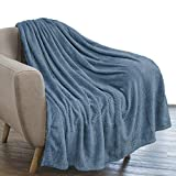 PAVILIA Luxury Flannel Fleece Blanket Throw Slate Blue | Soft Decorative Jacquard Weave Microfiber Throw for Bed Sofa Couch | Velvet Textured Leaves Pattern | Lightweight Plush Cozy Warm | 50'x60'