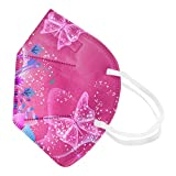 Koippimel Butterfly PrintedDisposable Face_Masks for Kids, 5-Layers Non-Woven Breathable_Mask with Nose Bridge Strip for Childrens