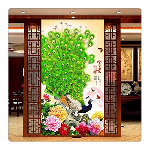 Fototapete Dekor Wallpaper 3D-Fototapete Schöne Pfingstrose Pfau Flower Hallway Entrance Hall Wallpaper Für Wände 3D Tapeten Tv Hintergrund Kt002,400X280Cm