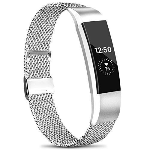 Amzpas Compatible with for Fitbit Alta HR Strap/Fitbit Alta Strap,Metal Stainless Steel Bracelet Strap with Unique Magnet Lock for Fitbit Alta/HR Fitness (No Tracker) … (S, 01 Silver)