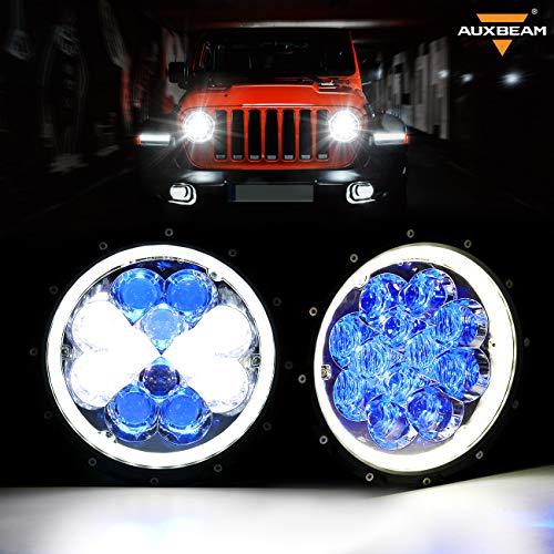 Auxbeam 7' Round LED Headlights for Jeep Wrangler JK TJ LJ CJ Hummber H1 H2 Driving Light with 5D Lens Combo Beam LED Atmosphere Light - Blue Halo Ring