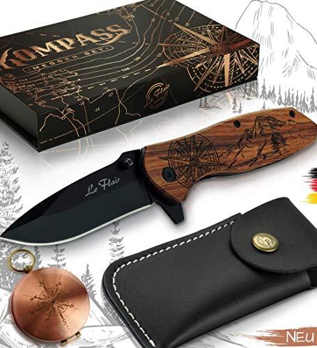 Le Flair® Kompass Messer - Outdoor Messer mit Holzgriff inkl. Kompass + Gürteltasche – Klappmesser - Survivalmesser mit Holz Gravur – Taschenmesser Einhandmesser mit 8,5cm langer Edelstahl Titanklinge