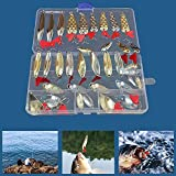 Fishing Lures Set Pike Trout Bass Spoon Spinners Bait Metal Treble Hooks Tackle Salmon Bass with Box for Sea Lake Fishing Supplies (35PCS)