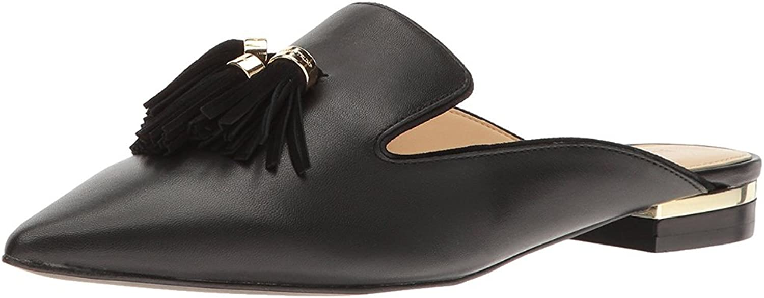 MAVIRS Mules for Women, Women Tassels Embellished Slipper shoes, Pointed Toe Backless Slip on Loafers Black Size 8.5