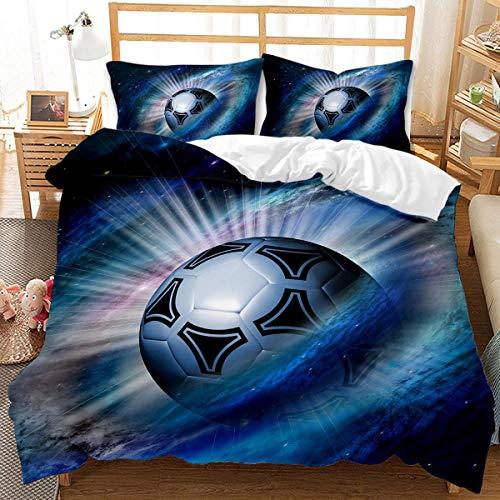 QWAS Juego de ropa de cama con diseño de fútbol en 3D, para niños y niñas (7,140 x 210 cm + 80 x 80 cm x 2)