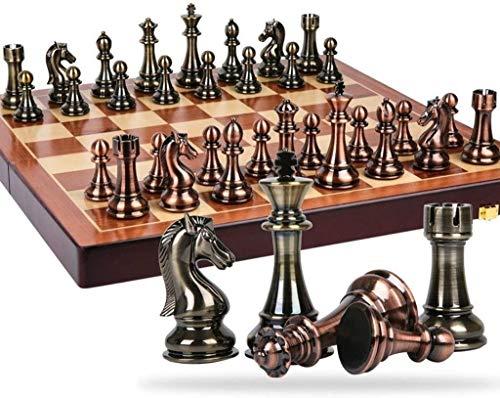 Juego de ajedrez conjunto de ajedrez estilo retro chapado en metal cobre boutique de ajedrez pieza de bandera plegable caja fácil de almacenar para niños adulto conjunto de mesa juego de ajedrez juego