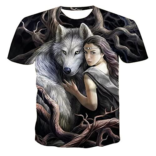 SSBZYES Camiseta para Hombre Camiseta de Verano con Cuello Redondo para Hombre Camiseta Estampada para Camiseta de Gran tamaño para Hombre Camiseta con Estampado de Lobo Camiseta de Gran tamaño Moda