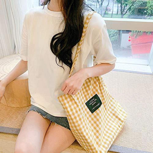 Neaer Bolso de mano para mujer, de tela a cuadros, de algodón, ecológico, para la compra, para niña, simple literario, a cuadros (color: amarillo)