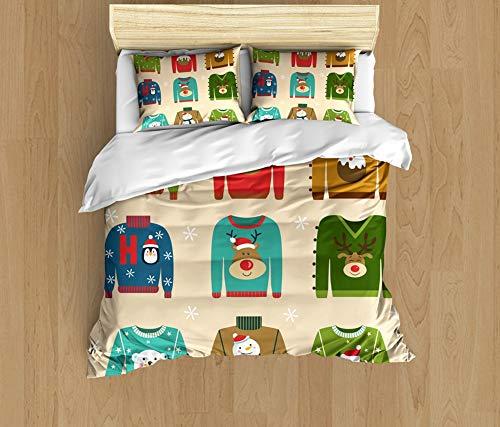 SAIAOS Funda nórdica,Patrón de suéter de Estilo de Personajes de Navidad coloridossuave Dormitorio de Hotel Lujo Juego de Cama de 3 Piezas con 2 Fundas de Almohada