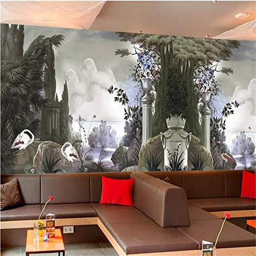 Wuyyii Tapete Wandbild Retro Handgemalte Regenwald Hölzer Europäischen Kolonial Wandbilder Wohnkultur Tv 3D Tapete-450X300CM
