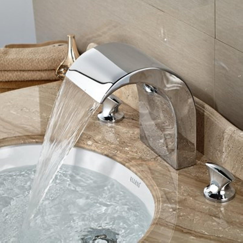 Retro Deluxe Fauceting Gro- und Einzelhandel mit poliertem Chrom Badezimmer Waschbecken Wasserhahn Deck montiert Tub Faucet 3 Lcher Waschbecken Mischbatterie, Chrom 1