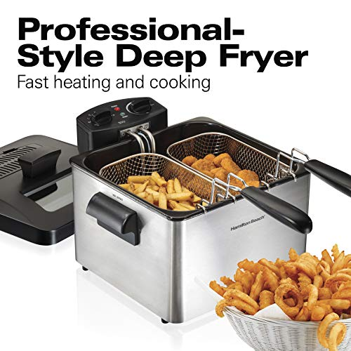 Hamilton Beach Triple Basket Electric Deep Fryer Professional-Style, 12 Cup Food Capacity, 4.5 Liters, 1800 Watts, Stainless Steel (35034),