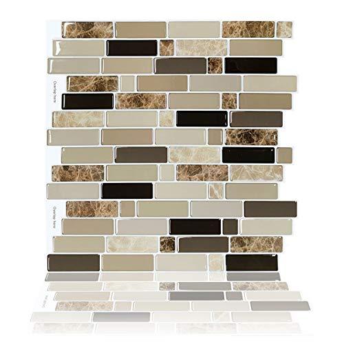 Upgraded,Vamos Tile 10-Sheet Peel and Stick Tile Backsplash,11.8 x10.8  Premium Anti Mold Kitchen Backsplash Peel and Stick Tile(Marble Design),Brown
