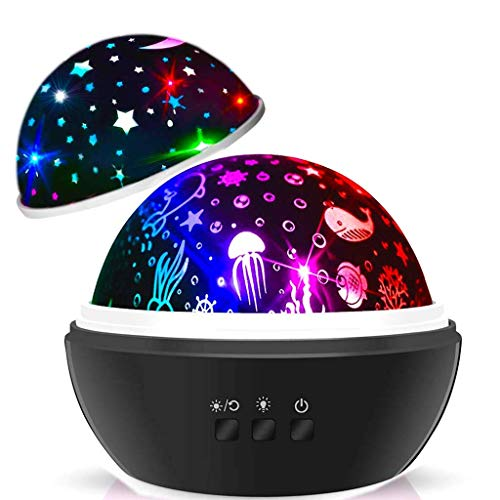 Night Lights for Kids,2 in 1 Star Projector Lamp & Ocean Night Light,360° Rotating 8 Colors Mode LED Projector Lamp for Kids Baby Bedroom Decoration,Best Kids Boys Gifts Age 2-9