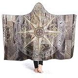 Manta de forro polar con capucha Inaayi, manta de yate de madera, brújula, manta suave y decorativa, suave, cálida, acogedora, manta de felpa de franela, sofá de cama duradero para niños y adultos, negro, 50'x40'
