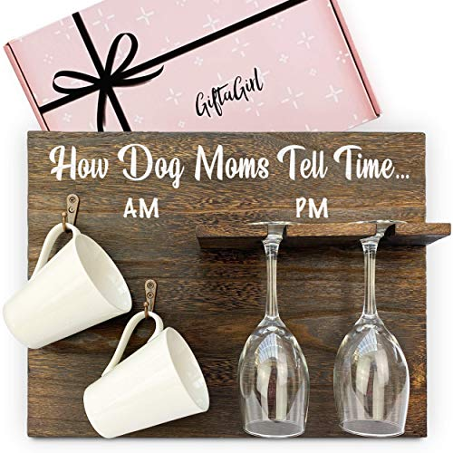 Dog Mom Wood Coffee Mug & Wine Glass Organizer