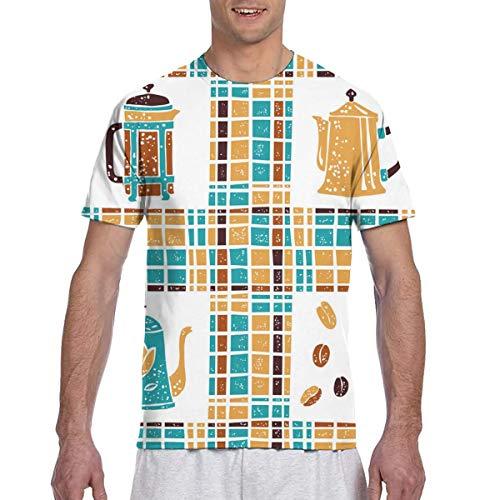 NHH Camiseta sin patrón, cafeteras y Cuadros, Moda Unisex, Camisetas con Estampado 8D, Camisetas con gráficos para Hombres y Mujeres