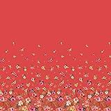 Soimoi Orange Viskose Chiffon Stoff Blätter und Blumen